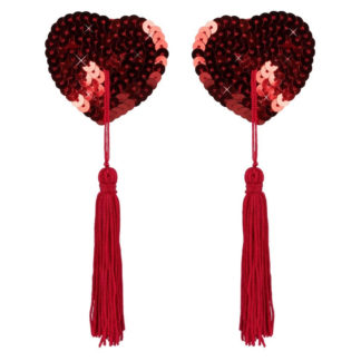 Nipple Tassels i Rød med Pailletter