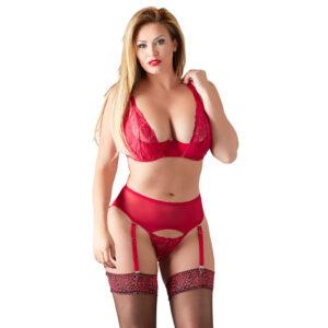 Plus Size Strip Lingeri sæt i Rød