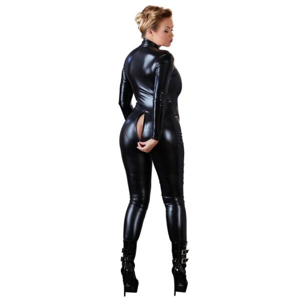 Plus Size Wetlook Catsuit i Sort