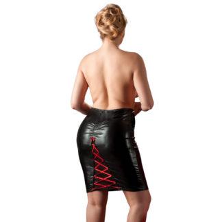 Plus Size Wetlook nederdel med snører