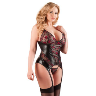 Plus Size Bustier i Wetlook med Blonder og Trusse
