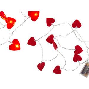 LED Lyskæde med filthjerter
