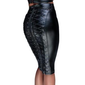 Noir Wetlook Nederdel med Snører