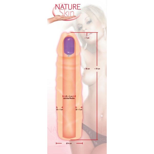 Nature Skin Penis Sleeve med Bullet Vibrator