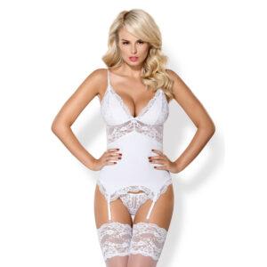 Obsessive Mia Blonde Bustier med Strømpeholdere