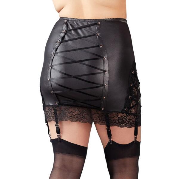 Plus Size Wetlook Nederdel med Blonder & Strømpeholdere