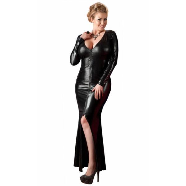 Lang Plus Size Wetlook Kjole i Sort