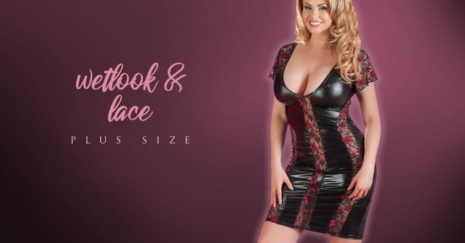 Plus Size Wetlook Kjole med Blonder