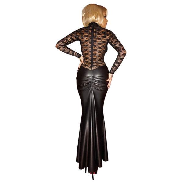 Lang Wetlook Kjole med Blonde Top fra Noir