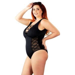 Plus Size Body med Snører og Gennemsigtige Sider