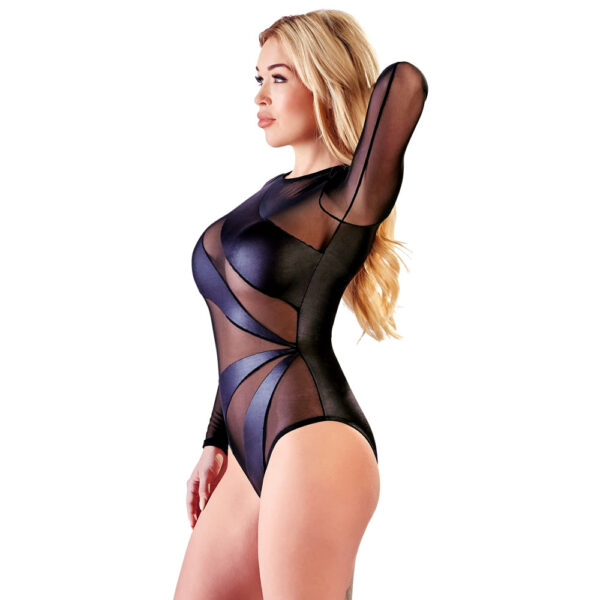 Sort Nylon Bodysuit med Wetlook