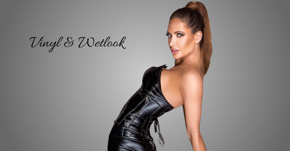 Noir Corsage af Wetlook & Læder Look