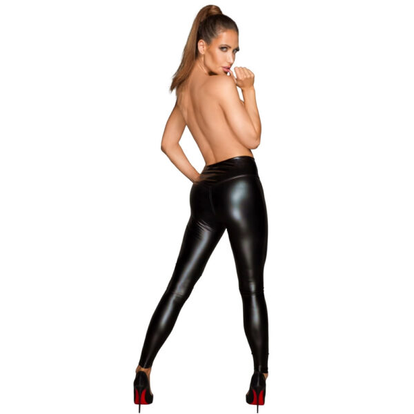 Noir Wetlook Leggings i Sort