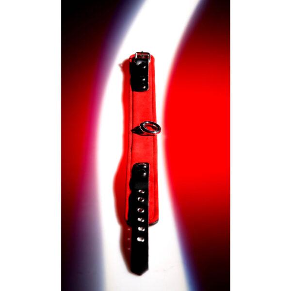 Læder Halsbånd med Ring i Rød og Sort