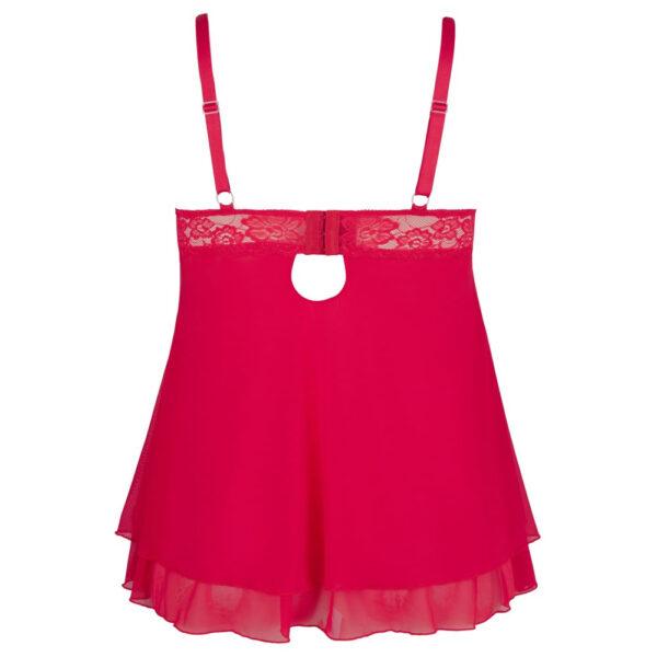 Plus Size Babydoll med Blonder Åbne Skåle i Rød