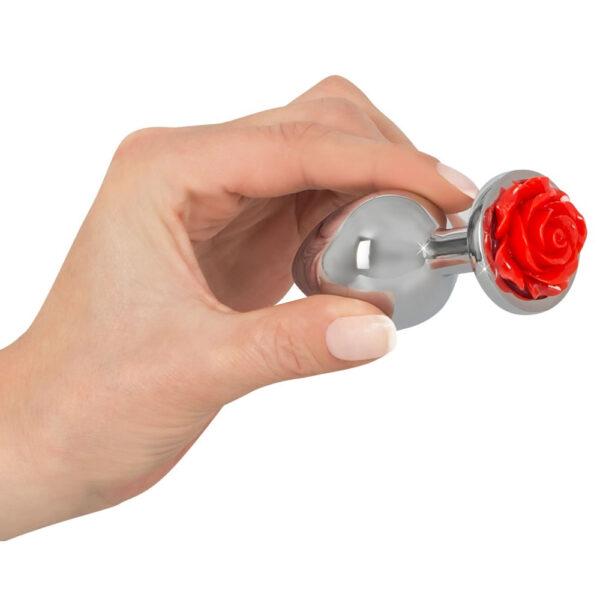 Aluminium Anal Plug med Rose i Bunden