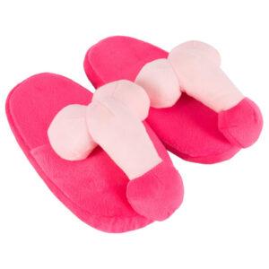 Penis hjemmesko i pink plys